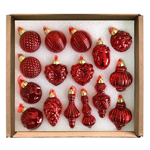 GLASSBALL Red Classic Christmas Mercury Glass Ornament (16 Ornaments) (Ornament Mercury)