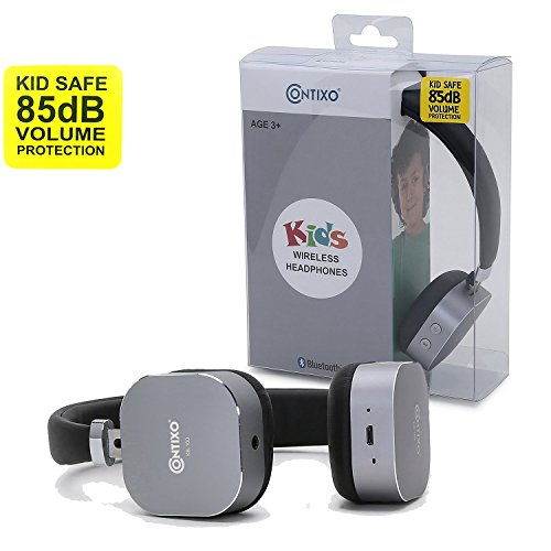 Contixo KB100 Kids Bluetooth Wireless Headphones, Volume Safe Limit 85db, On-The-Ear Adjustable Headset (Black) - Best Gift
