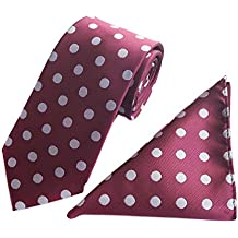 Secdtie Men's Polka Dot Ties Jacquard Woven Business Necktie & Pocket Square Set