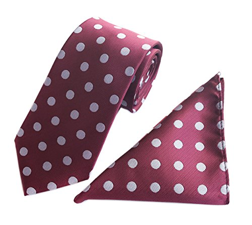 Men's Luxury Wine Red White Repp Dot Silk Tie Polyester Classic Prom Set Necktie ()