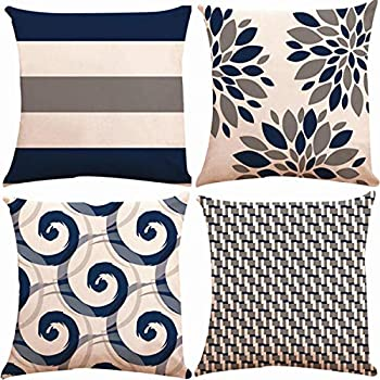 Decorative Throw Pillow Covers 18 x 18 Inch Double Side Design,ZUEXT Set of 4 Floral Cotton Linen Indoor Outdoor Pillow Case Cushion Cover for Car Sofa Home Decor (Navy Beige Green Check, Mix & Match)