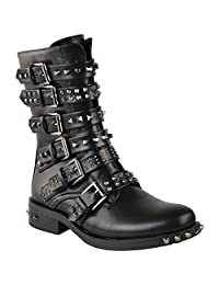 Fashion Thirsty Womens Studded Low Heel Buckle Strappy Flat Ankle Boots Shoes Size