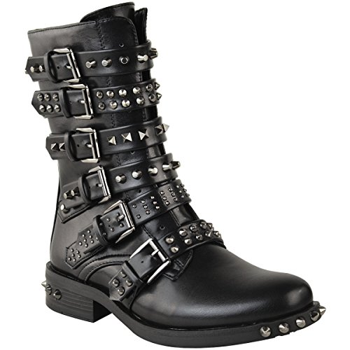 Fashion Thirsty Womens Studded Ankle Boots Buckle Biker Strappy Flat Shoes Size