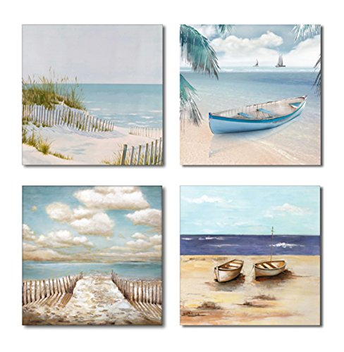 Yang Hong Yu 4 Panels Canvas Prints Wall Art - Beach Seaside Boat and Sailing on Sea - Warm Color Painting Style Giclee Prints for Home Decoration 12x12inch