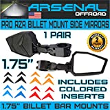 UTV Side View Mirrors Arsenal Pro Series Heavy Duty Military Grade Billet Aluminum with 2 Inch Clamps Can Am Commander Can Am Maverick X3 X RS Turbo R 2017-2018