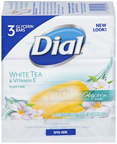 Dial Glycerin Bar Soap, White Tea & Vitamin E, 4 Ounce Bars, 3 Count