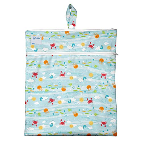 i play. Wet & Dry Bag | Stores wet & dry items separately | Use for swim wear, diapers, underwear, clothes & more,Light Aqua Sea Friends,One-Size