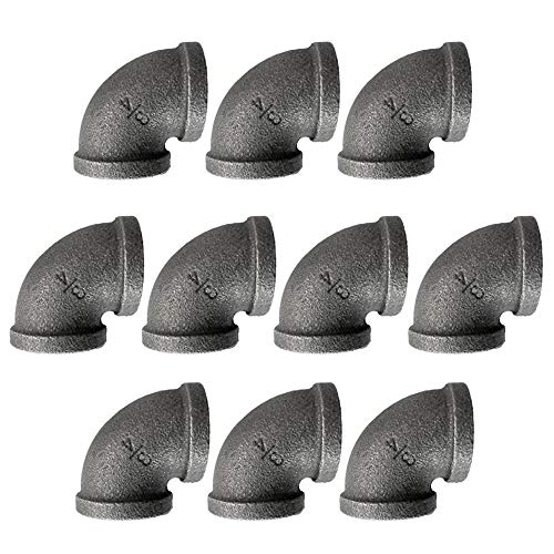 IBEUTES 10-Pack Elbow Black 3/4-Inch Malleable Iron Cast Pipe Fitting, DIY Pipe Furniture, 3/4 Inch Threaded Pipe Nipples Industrial Piping Plumbing Supplies ()