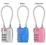 Luggage Password Lock,3 Colors Combination Password Locks Padlocks,Suitcase Combination Padlocks,Travel Luggage 3-Digit Combination Resettable Password Code Lock Steel Cable