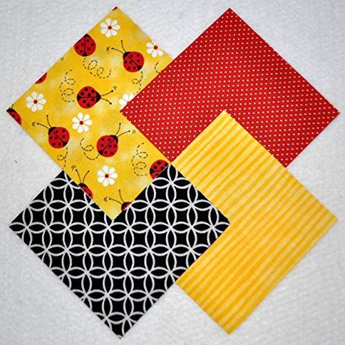 "Ladybugs 4"" Fabric Squares Charm Pack 100% Cotton, 40 Pieces"