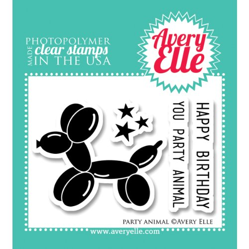 Avery Elle AE1324 Stamp Set, 2-Inch by 3-Inch, Party Animal, Clear