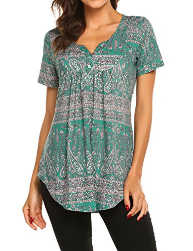- Floral Print Tunic, Women's Henley V Neck Button-up Ruched Vintage Short Sleeve Tunic Shirt Dark Green,M