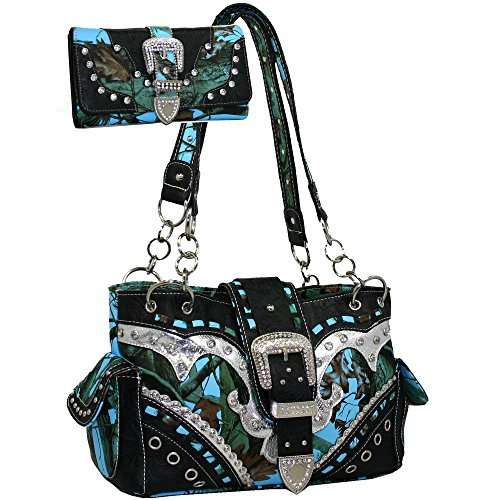 Western Camo Print Rhinestone Buckle Accent Purse Handbag With Matching Wallet - Blue/Multi Colors (Rhinestone Purse And Wallet Set)