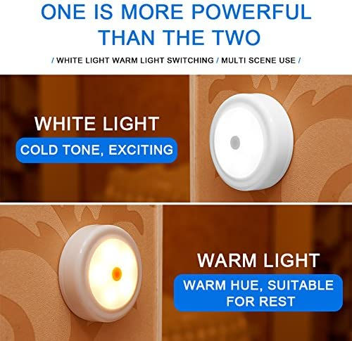 WRalwaysLX Remote Control LED Cabinet Light Cool Warm Adjustable Night Light, Operates On 3×1.5V AA Batteries Not Included for Kitchen Under Cabinet Lighting,Closets, Cabinets, Counters. 6Pack