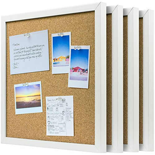 (OrgaNice Cork Board/Bulletin Board - 4X Beautifully Framed 12 x 12-Inch Tiles - Reinforced Frame - Zero Flaking - Start Your Dream Project - Mounting Hardware Included - Bonus 10x Push Pins)