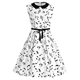 Musical Notes Printed Collared Belted Vintage Swing Dress white XXXL