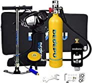 Scuba Tank for Diving, 1L Tank Oxygen Tank Set, Underwater Breathing Kit with 15-25 Minutes Capability, Underw
