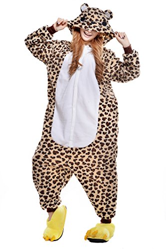 Newcosplay Unisex Adult Pyjamas Leopard bear Halloween Onesie Costume -