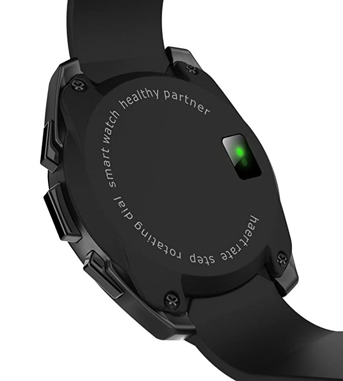 SANNYSIS 1.5Inch G5 MTK2502 Smart Watch Monitor Pedometer Bluetooth Heart Rate for iOS Android (Black)