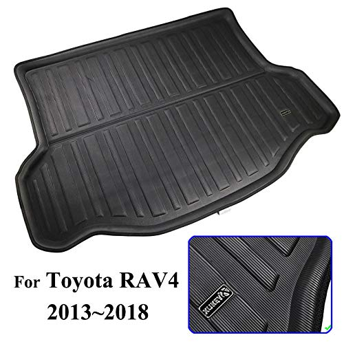 (XUKEY for Toyota RAV4 2013 2014 2015 2016 2017 2018 Boot Mat Rear Trunk Boot Liner Cargo Floor Tray Carpet Mud Pad Kick Guard Cover Protector Decoration Car Accessories)