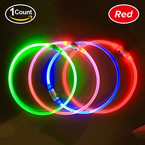 BSeen LED Dog Collar, USB Rechargeable, Glowing Pet Dog Collar for Night Safety, Fashion Light UP Collar for Small Medium Large Dog (Ruby Red)