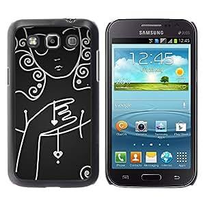 Paccase / SLIM PC / Aliminium Casa Carcasa Funda Case Cover para - White Lady Woman Sad Emo Dark - Samsung Galaxy Win I8550 I8552 Grand Quattro