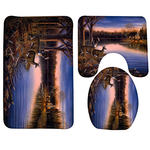 Wondertify Bath Mat,Animals Deer River Trees House Bathroom Carpet Rug,Non-Slip 3 Piece Bathroom Mat Set