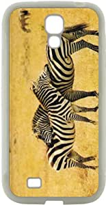 Rikki KnightTM 3 Zebras Design Samsung® Galaxy S4 Case Cover (White Hard Rubber TPU with Bumper Protection) for Samsung Galaxy S4 i9500