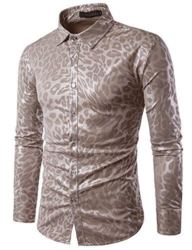 Zuckerfan Men's Metallic Shiny Nightclub Styles Long Sleeves Button Down Dress Shirts For Party Disco Dance(Charcoal (1970s Disco Shirt)