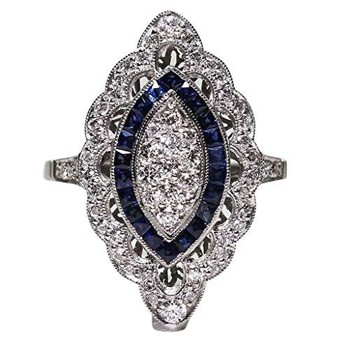 Yaseking Women Rings, Fashion Elegant Studded Crystal Silver Sapphire Cubic Zirconia Diamond Band Ring Jewelry Gift(9,Silver)