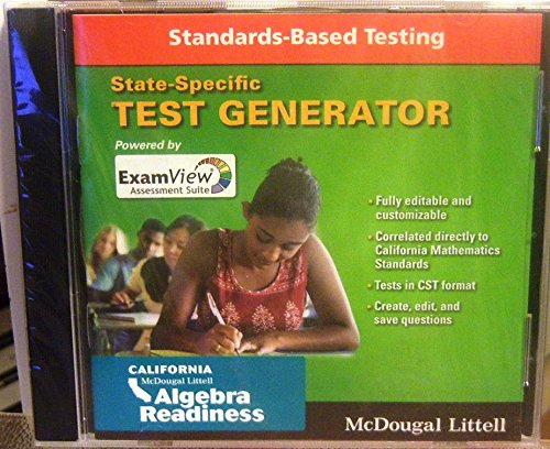 Algebra Readiness: Examview Suite 6.0 Test Generator CD-ROM Middle School CA (Algebra Readiness Standards)