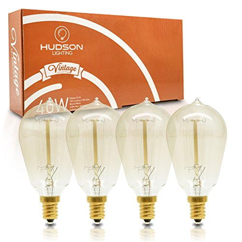 Vintage Candelabra Edison Light Bulbs: 40 Watt, 2100K Warm White Lightbulbs - E12 Base - 120 Lumens - Clear Glass - Dimmable Antique Exposed Filaments - ST15 Decorative Light Bulb Set - 4 pack