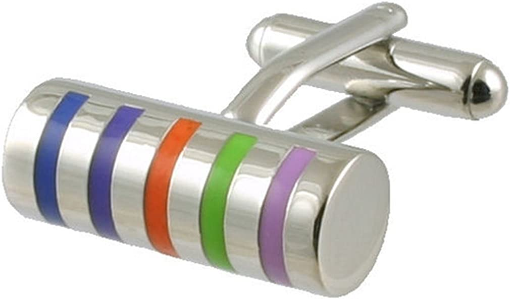 Select Gifts Cuff Links Rainbow Cufflinks~Various Pattern Colour Stripe Cylinder Engraved Personalised Box