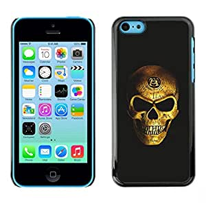 Eason Shop / Hard Slim Snap-On Case Cover Shell - Gold Bling Skull Death Vicious Black - For Apple Iphone 5C