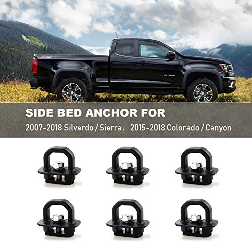 6pcs Tie Down Anchors Truck Bed Side Wall Anchor for 07-18 Chevy Silverdo GMC Sierra 2015-2018 Chevrolet Colorado Pickup DZ97903