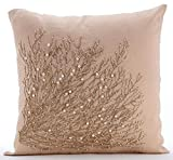 "Designer Beige Shams, Jute Tree Branch Pillow Shams, 24""x24"" Pillow Shams, Square Cotton Linen Shams, Contemporary Pillow Shams - Jute Drought"