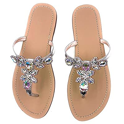 azmodo Women's Silver Jeweled Hand Crafted Crystal Flip Flops Rhinestones Flats Sandals Y22