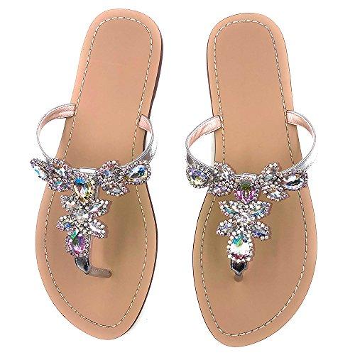 AZMODO Women's Silver Hand Crafted Flip Flop Rhinestones Sandals Y22 (US 11/EU 43/CN 44) (Rhinestone Sandals)