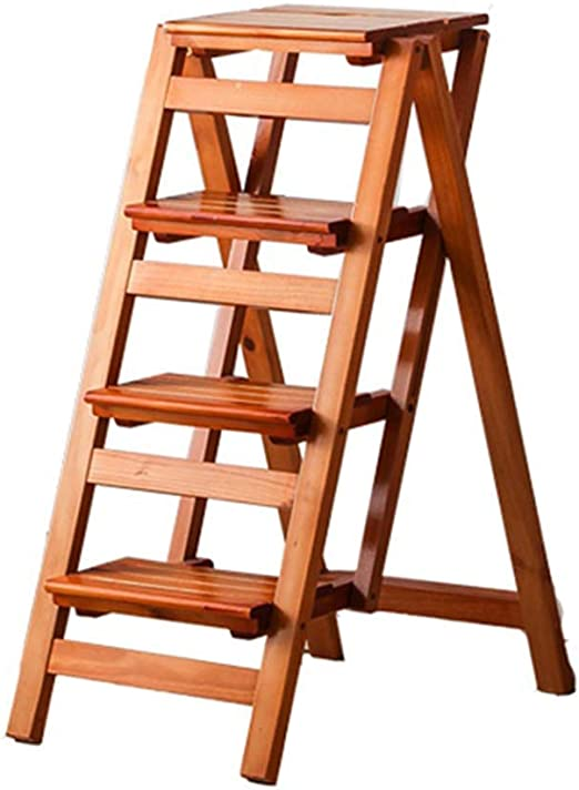 CHOUCHOU MultifuncióN Estante Almacenamiento Baldas Pasos Plegables Escalera de Madera Silla Taburete Multifunción Escalera Plegable Estantería Home Library 4 Pasos Capacidad 150Kg (Color Nogal): Amazon.es: Hogar