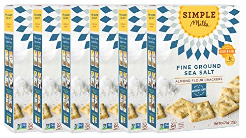 Simple Mills Almond Flour Crackers, Fine Ground Sea Salt, Naturally Gluten Free, 4.25 oz, 6 count