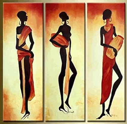 Amazon.com: African Girl Abstract Modern Art 100% Hand Painted Oil ...