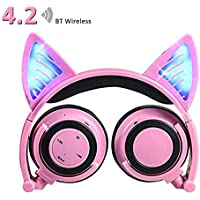 Wireless Bluetooth Headphones with Cat Ear,iGeeKid LED Foldable Over-ear HD Headset with Microphone,Volume Limiter for Children/Teens/Adults,Compatible with Smartphones PC Tablet (003Pink)