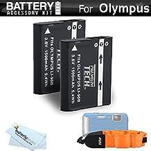 2 Pack Battery Kit For Olympus Tough TG-Tracker, TOUGH TG-5, TG-2iHS, TG-3, TG-4 Waterproof Digital Camera Includes 2 Extended Replacement (1500Mah) LI-90B, LI-92B Batteries + Float Strap + More