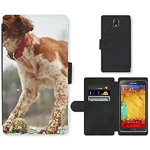 PU LEATHER case coque housse smartphone Flip bag Cover protection // M00110263 Perro que juega la bola de mascotas // Samsung Galaxy Note 3 III N9000 N9002 N9005