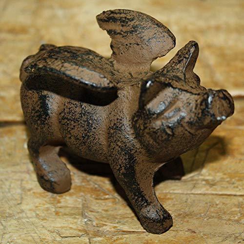 Cast Iron Statue Funny Pig Wings Paper Weight Garden Yard Door Stop Figurine ()
