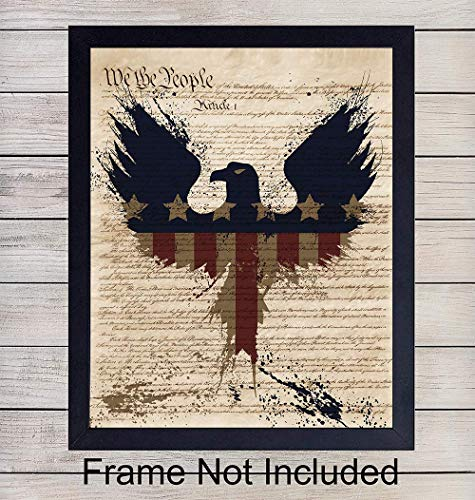 Upcycled Dictionary Wall Art Print - 8X10 Vintage Unframed Photo - Perfect Easy Gift For Patriotic Americana Fans and Great For Office and Home Decor - Memorial, Veterans, President's Day -4th of July