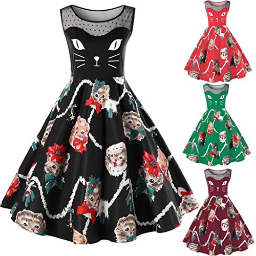 Womens Cat Printing Sleeveless Cocktail Party Dress Vintage Swing Lace Dress (US6(TagL), Black) (Womens Wear Waterfall)