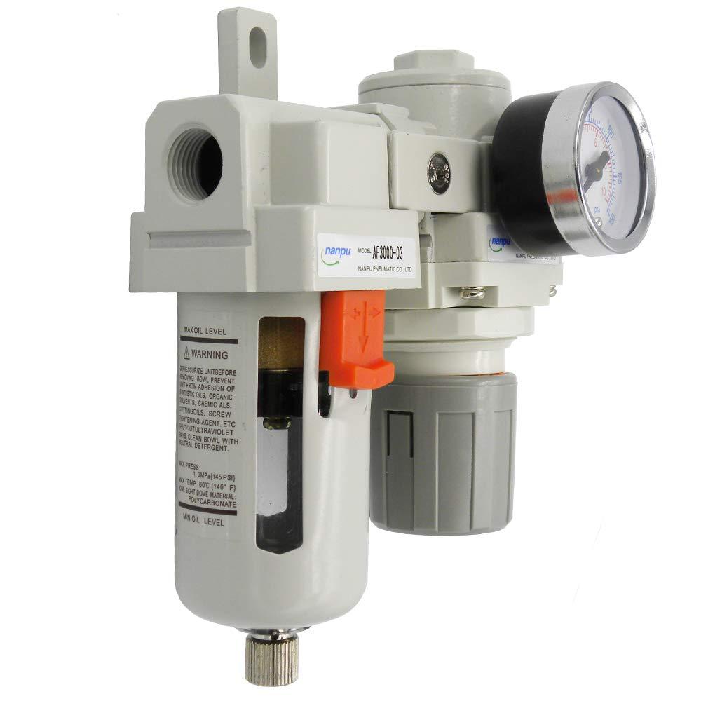 Bracket Gauge Semi-Auto Drain NANPU ARF3000 3//8 NPT Compressed Air Filter Regulator Combo Piggyback Poly Bowl 5 Micron Element