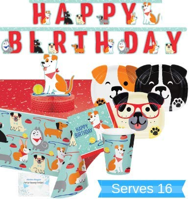 Dog Party Supplies and Decorations - Dog Party Plates and Napkins Cups for 16 People - Includes Dog Birthday Banner, Tablecloth and Centerpiece - Perfect Dog Birthday Party Decorations and Dog Birthday Party Supplies! -