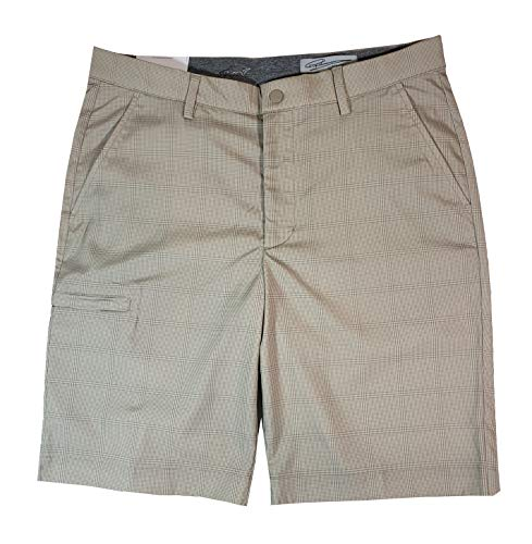 Greg Norman Mens Golf Performance Cargo Short, Khaki Plaid, 36